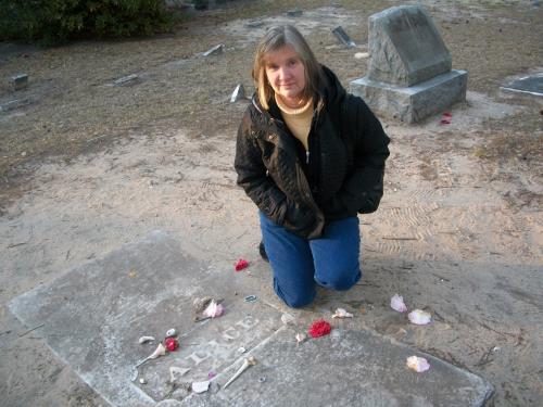 Writer Marcia Mercer at Alice Flagg's Grave'