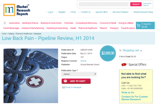 Low Back Pain - Pipeline Review, H1 2014'