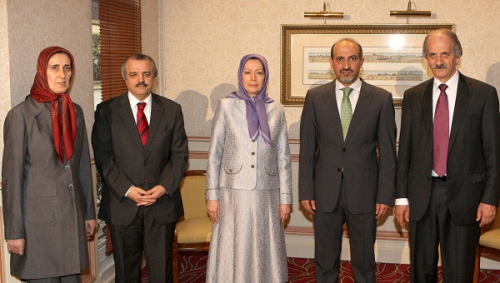 Mrs Maryam Rajavi and Mr Ahmed Jarba with conference audienc'