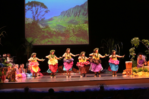 Traditional Kahiko Dancers with Kalalau Valley Backdrop'