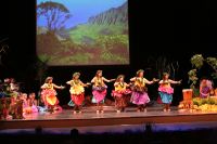 Traditional Kahiko Dancers with Kalalau Valley Backdrop
