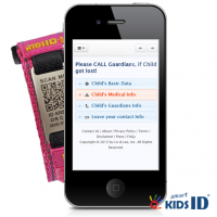 SmartKidsID Iphone View when QR Code is scanned