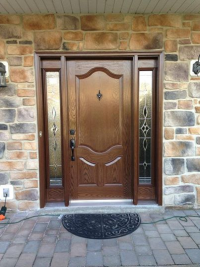Recently installed fiberglass door unit by Roman and Sons