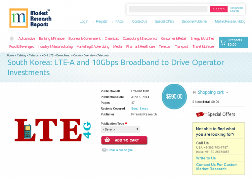 South Korea: LTE-A and 10Gbps Broadband to Drive Operator'