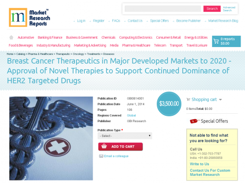 Breast Cancer Therapeutics in Major Developed Markets to 202'