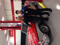 Christi Edelbrock with Automotive student