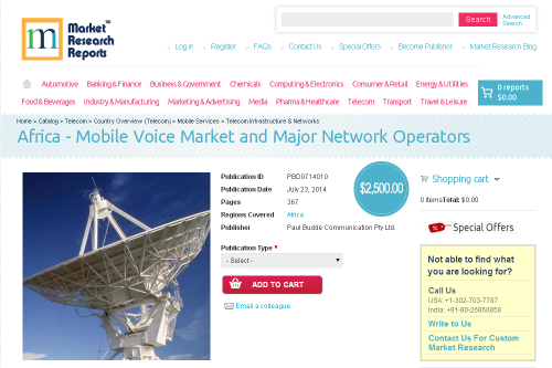 Africa - Mobile Voice Market and Major Network Operators'