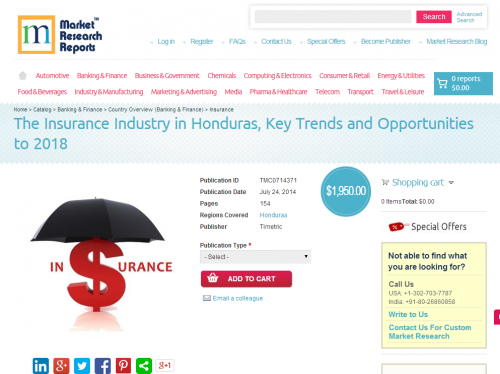 Insurance Industry in Honduras Opportunities to 2018'