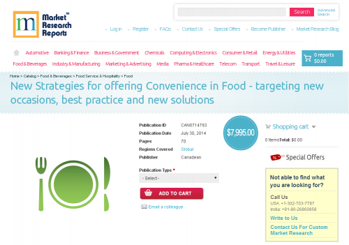 New Strategies for offering Convenience in Food'
