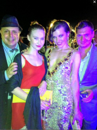 Edward Bass with Julie Wynn and Mila Jovovich and Maxim Este