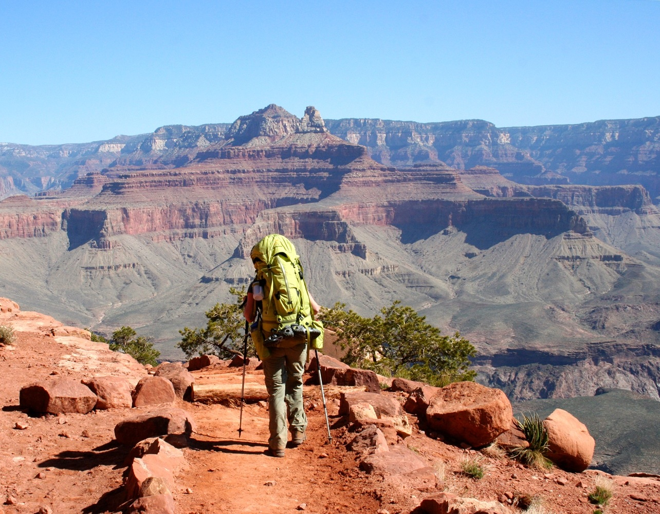 Hiker on Trail through Grand Canyon