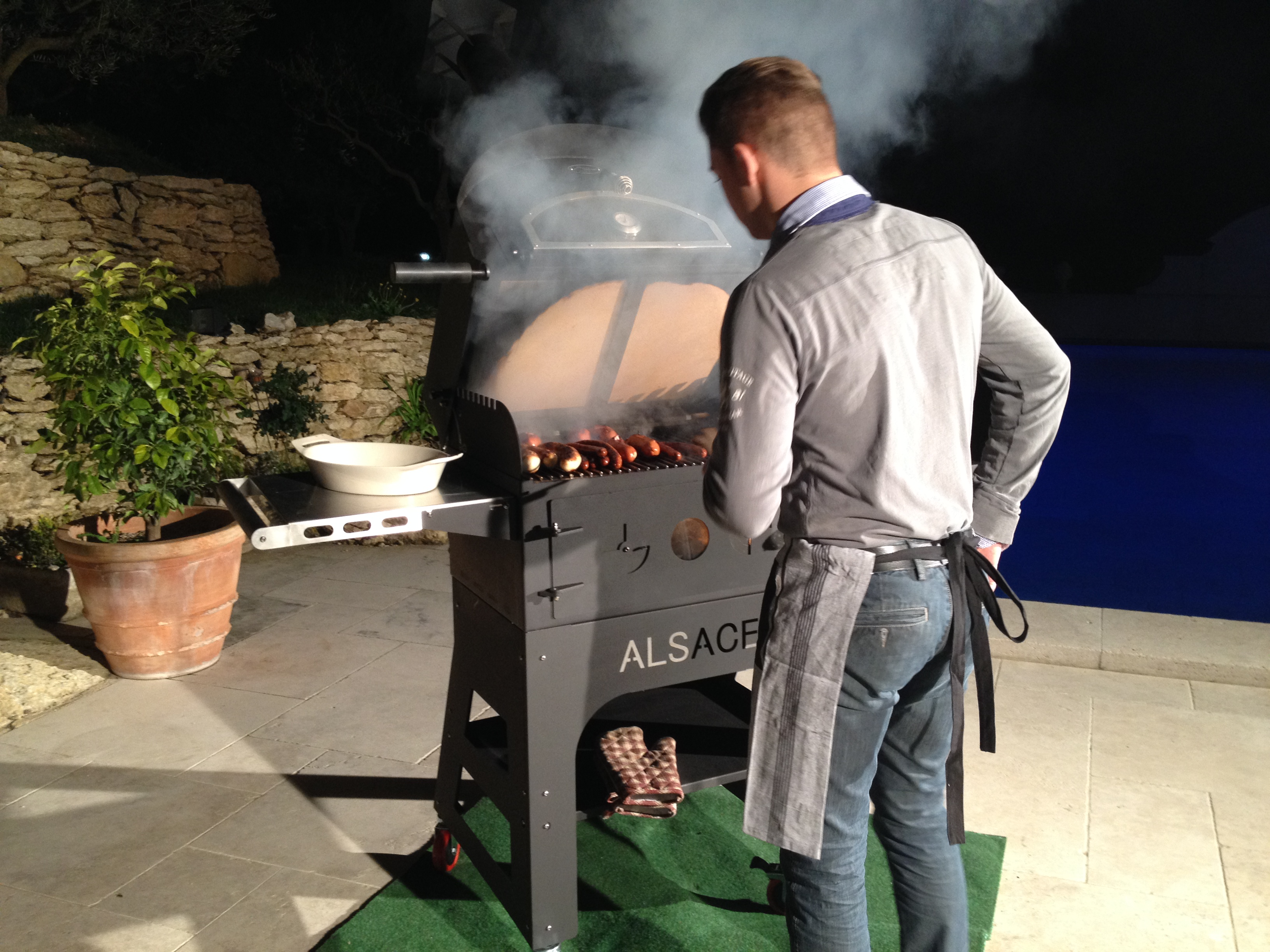 Alsace, outdoor wood-fired oven/grill in grilling position
