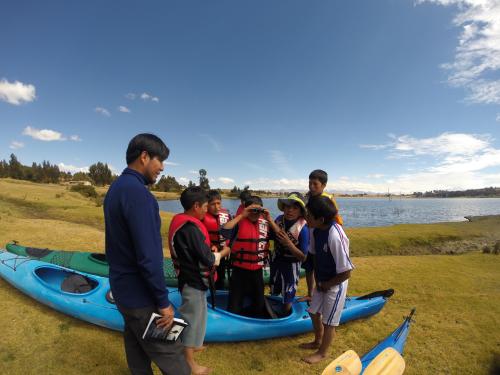 Paddle Lake Titicaca Three Paddlers'