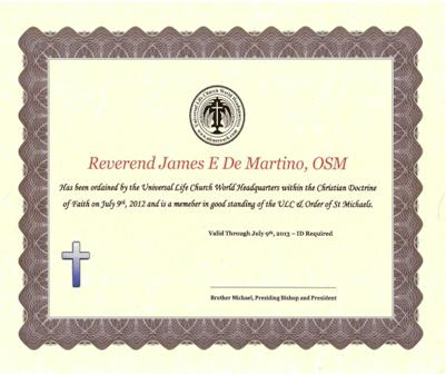 Ordination Certificate'