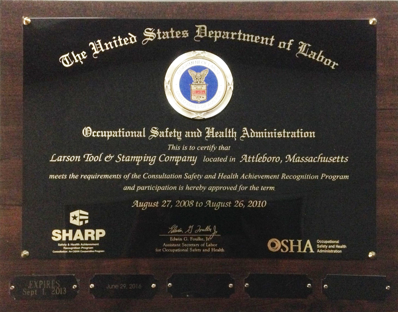 Larson Tool is SHARP Certified.