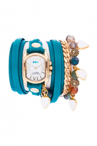 Paris Heart Charm Wrap Watch in Dark Aqua