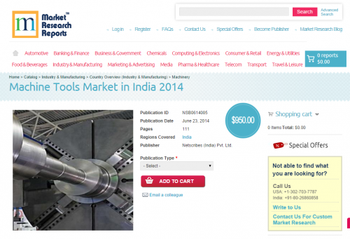 Machine Tools Market in India 2014'