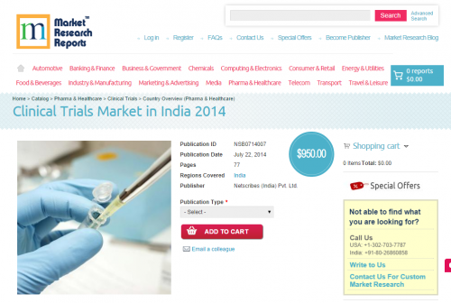 Clinical Trials Market in India 2014'
