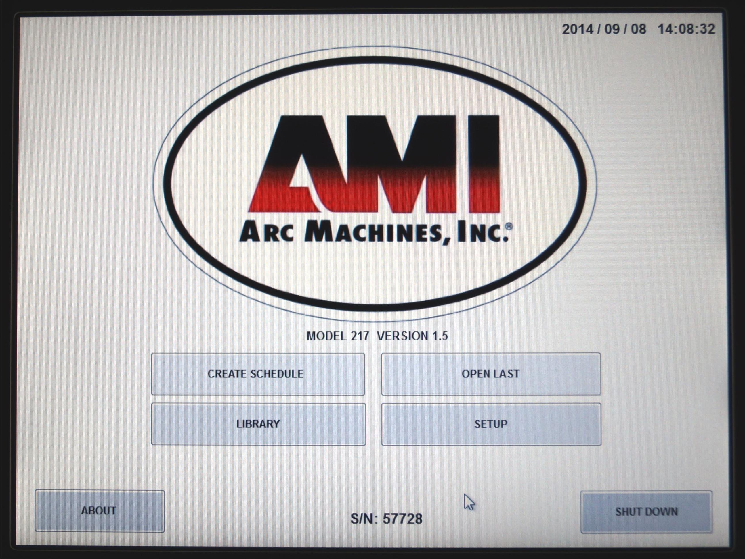Home Screen of AMI M217 Orbital Welding Power Supply