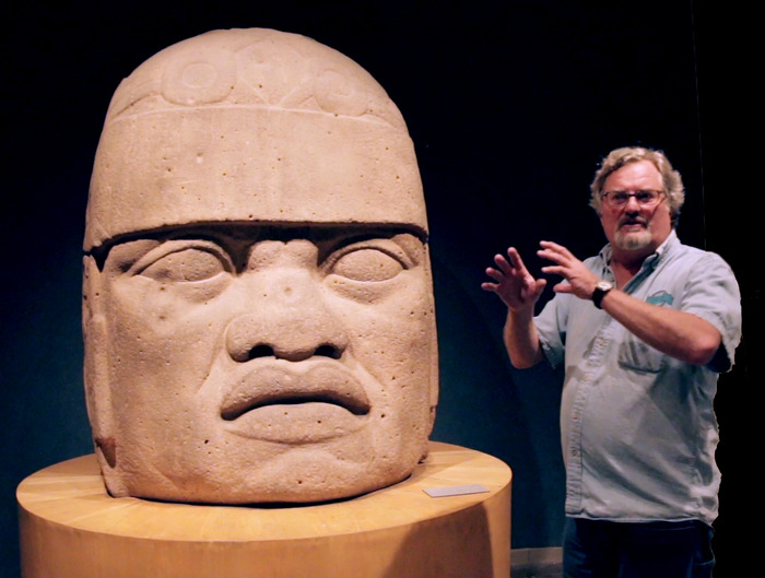 David Childress with olmec Head