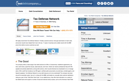 Tax Defense Network review'