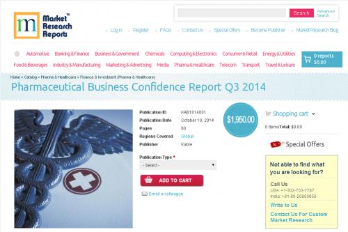 Pharmaceutical Business Confidence Report Q3 2014'