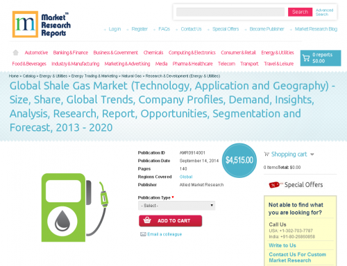 Global Shale Gas Market Forecast 2013 - 2020'
