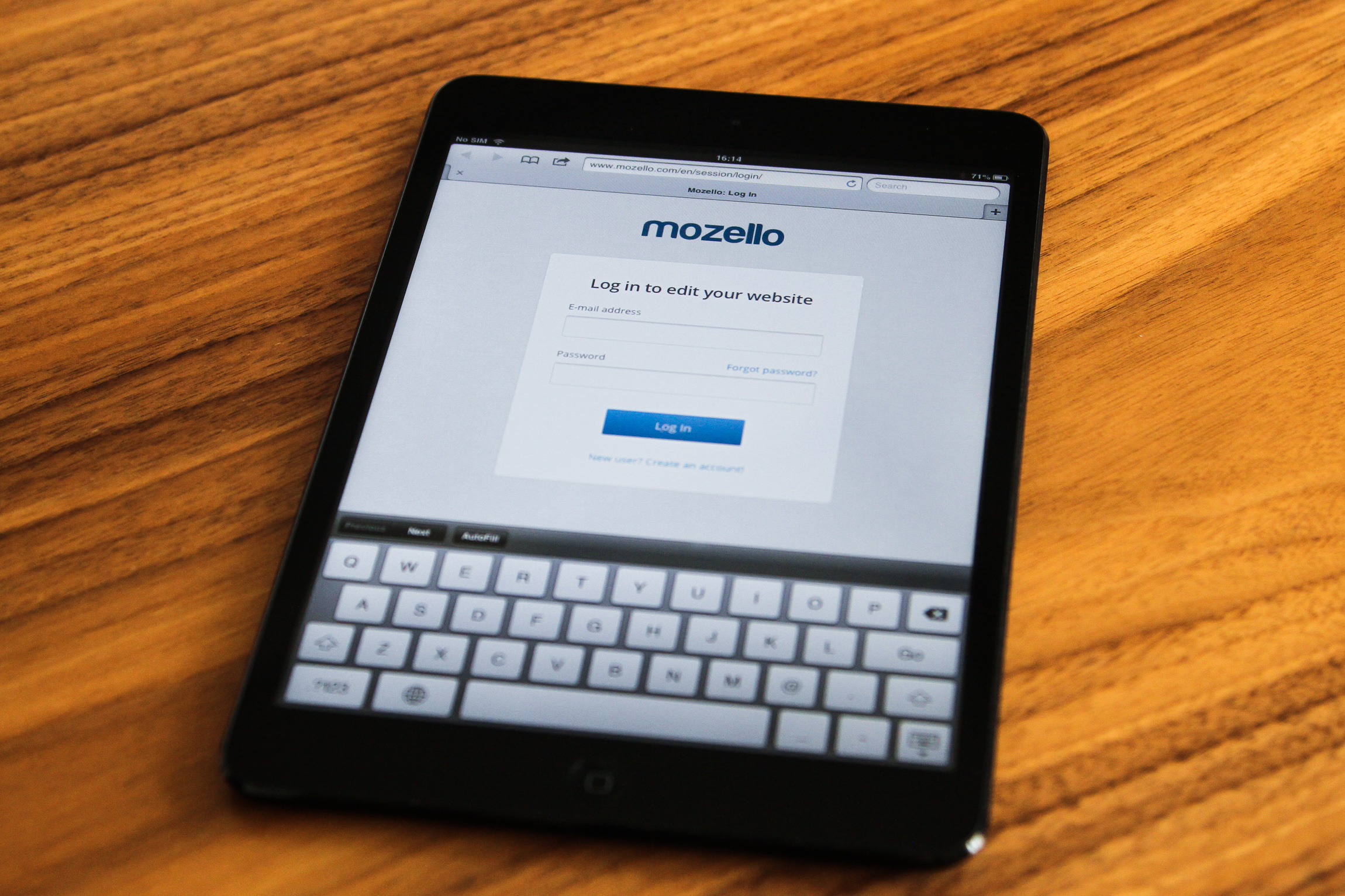 Mozello Website Builder on iPad