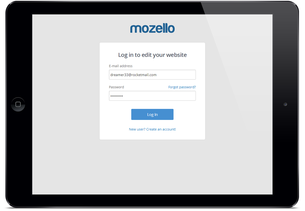 Mozello Site Builder on a Tablet