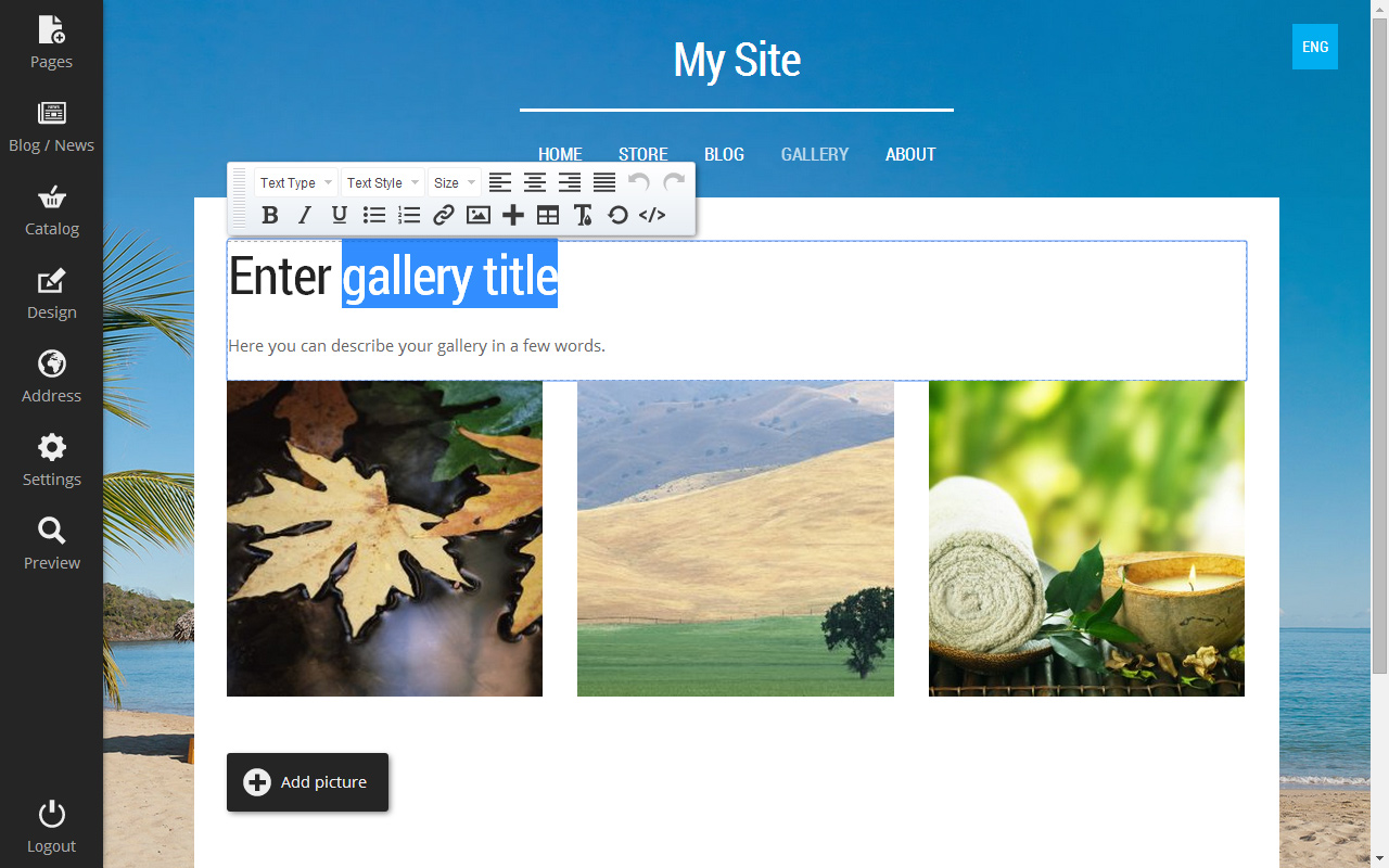 Mozello Website Editor Screenshot