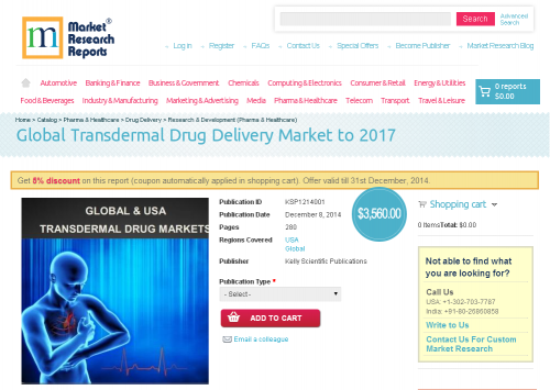 Global Transdermal Drug Delivery Market to 2017'