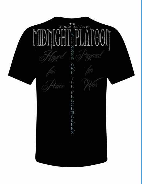 Midnight Platoon Clothing Blue Line Tee-Shirt Back View