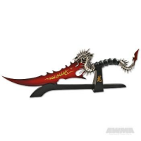 Blood Red Fantasy Knife With Stand
