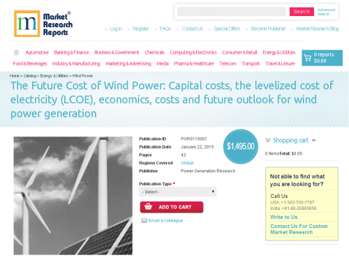 Future Cost of Wind Power: Capital costs'
