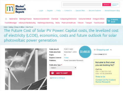 Future Cost of Solar PV Power: Capital costs, the levelized'