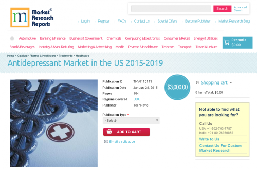Antidepressant Market in the US 2015-2019'