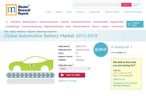 Global Automotive Battery Market 2015 - 2019'