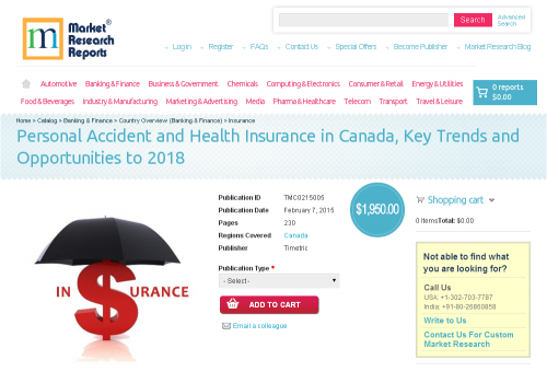 Personal Accident and Health Insurance in Canada'