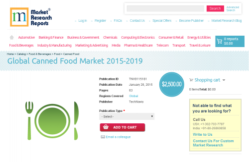 Global Canned Food Market 2015 - 2019'