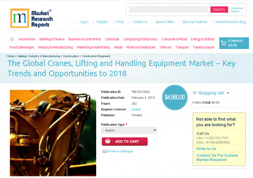 The Global Cranes, Lifting and Handling Equipment Market'