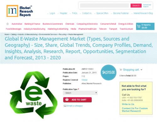 Global E-Waste Management Market  2013 - 2020'