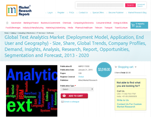 Global Text Analytics Market  2013 - 2020'
