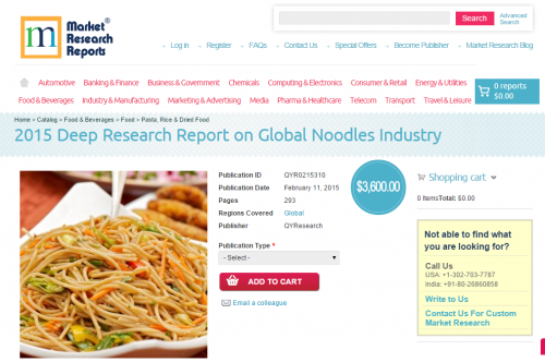 2015 Deep Research Report on Global Noodles Industry'