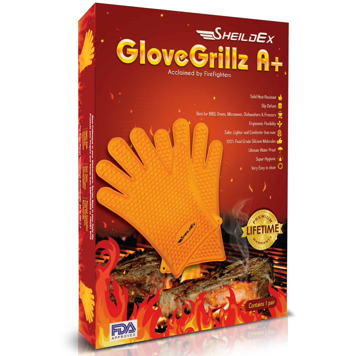 SheildEx Silicone Kitchen & BBQ Grilling Gloves
