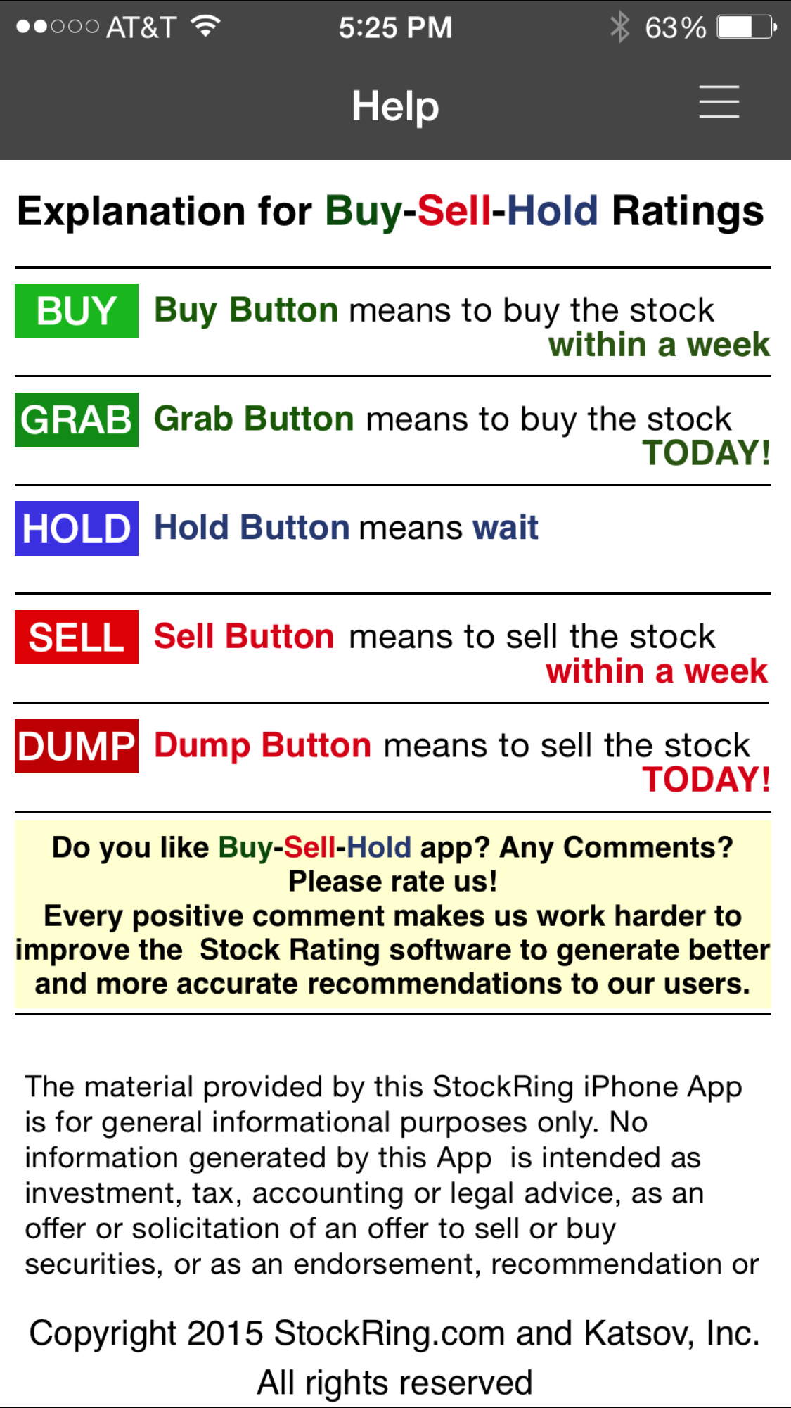 Meaning of GRAB-BUY-HOLD-SELL-DUMP ratings inside iPhone App
