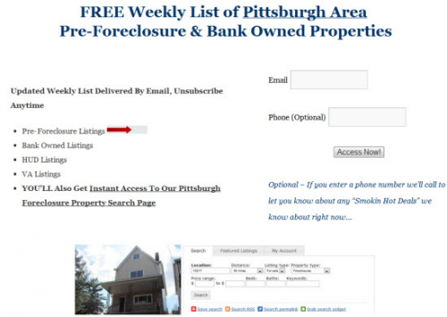 Get Your Weekly List of Pittsburgh Foreclosures!'