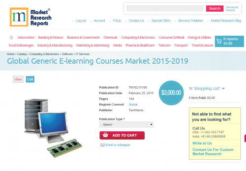Global Generic E-learning Courses Market 2015-2019'