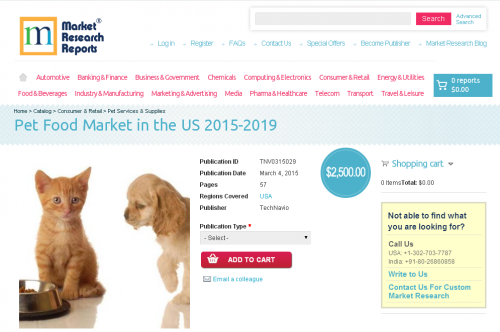 Pet Food Market in the US 2015 - 2019'