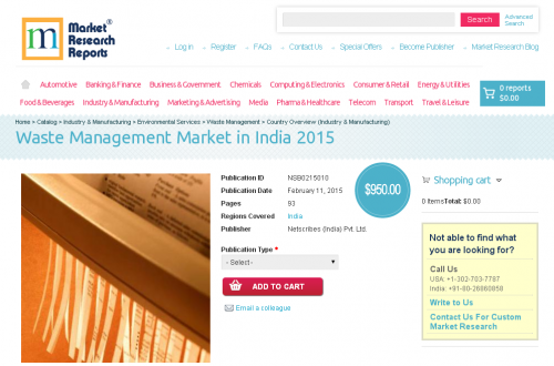 Waste Management Market in India 2015'