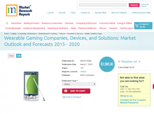 Wearable Gaming Companies, Devices, and Solutions'